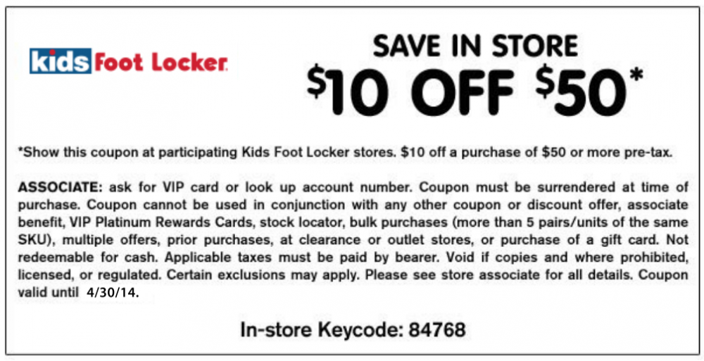 Sign up for foot locker coupons