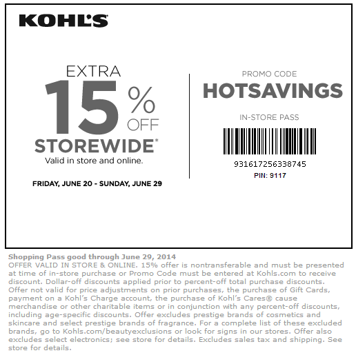 Kohls coupon code in store