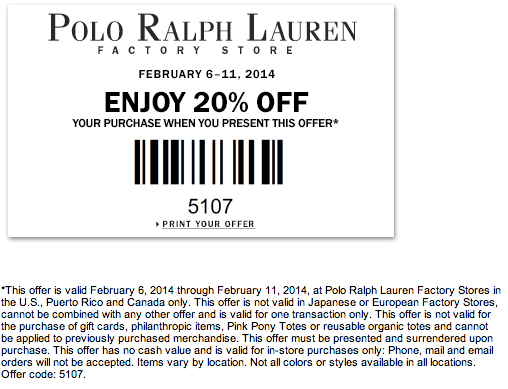 Ralph lauren discount coupon
