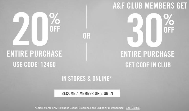 Abercrombie online coupon code 2018