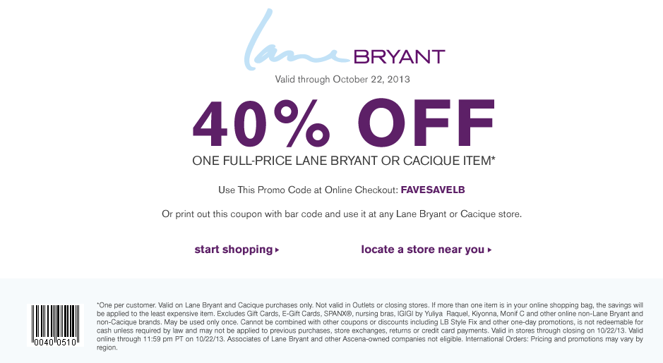 Lane bryant coupons in store barcode