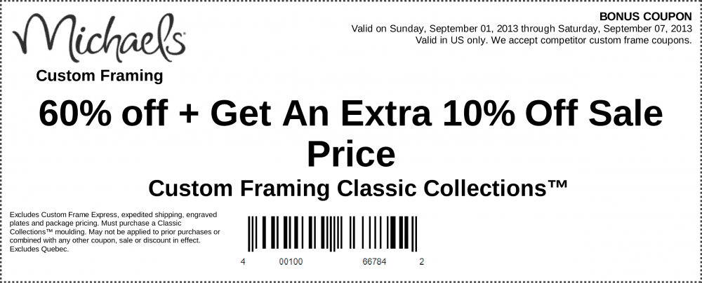 image relating to Michaels Coupon Printable titled Michaels framing discount coupons 60 off : I9 athletics coupon