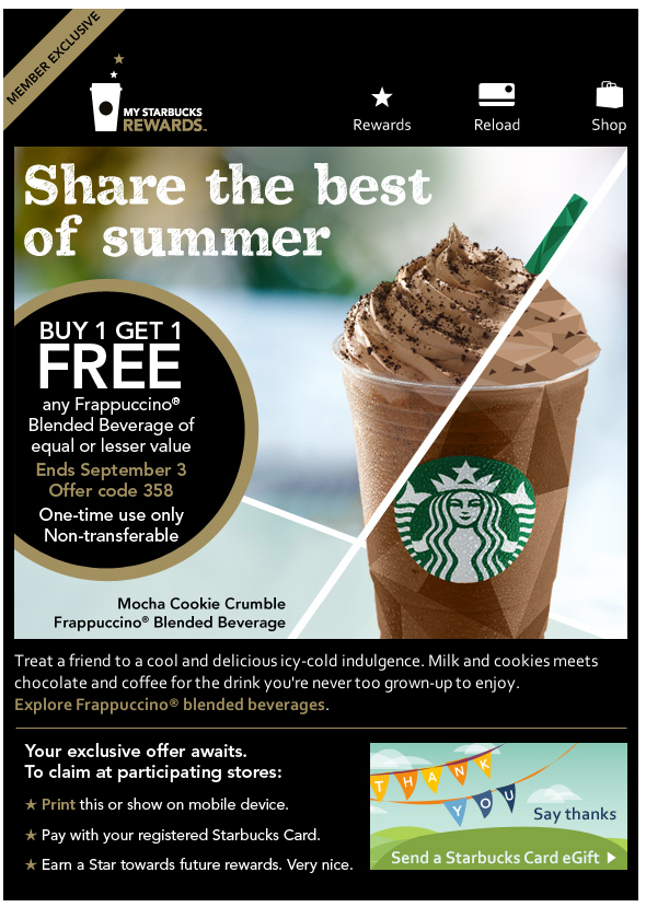 View Starbucks Store Deals How to Use Coupons and Codes How to use Starbucks Store coupons and promo codes: Click on your shopping bag to see your order summary. Choose one of the promo codes below and enter it in the labelled field. Click APPLY to see your discount and continue checkout.