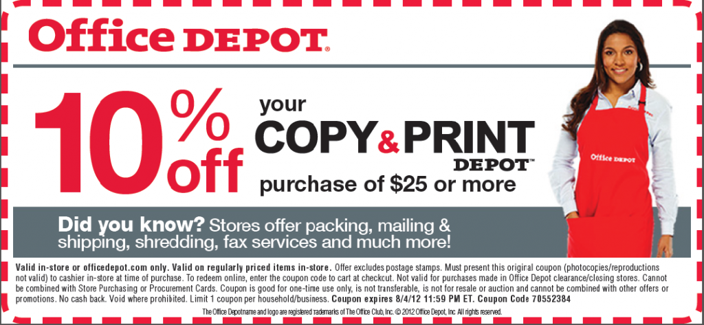 Office depot printing coupon code