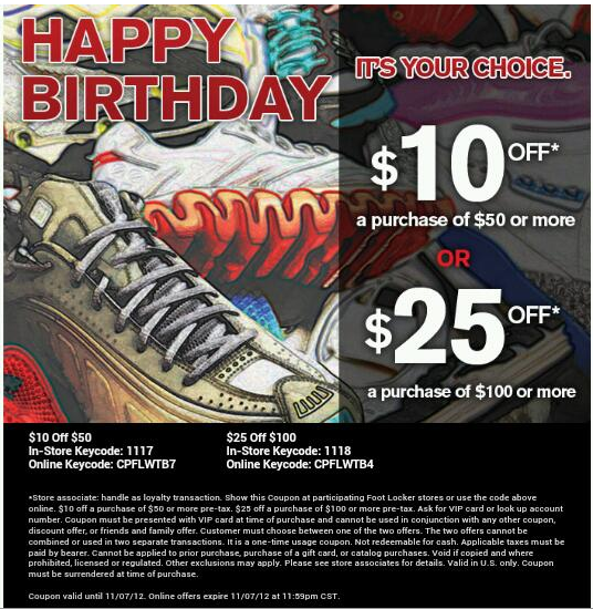 Discount coupons for foot locker
